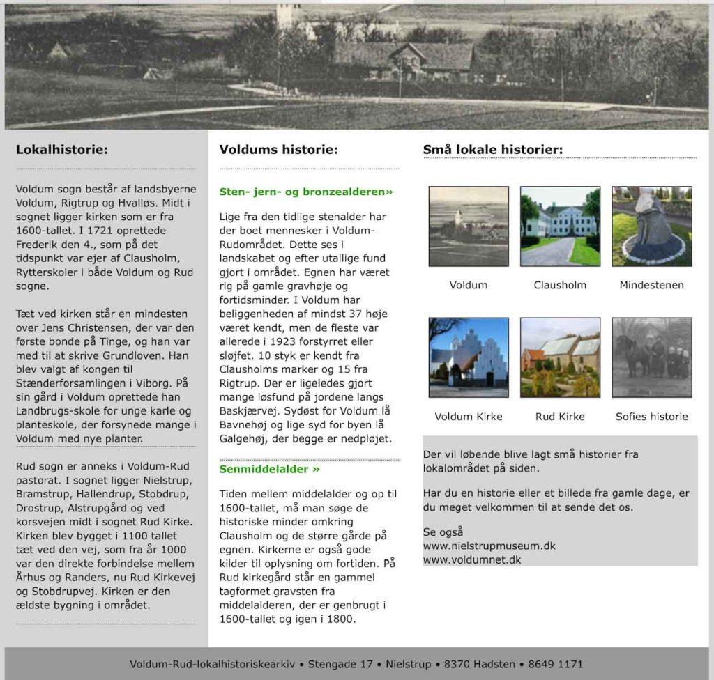 Voldum-Rud Lokalhistoriske Arkiv's hjemmeside